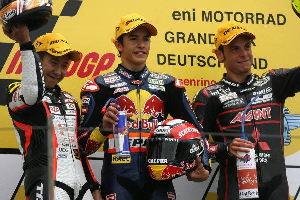 Germany Sachsenring 16-18 July 2010125cc podium Koyama Marquez and Cortese