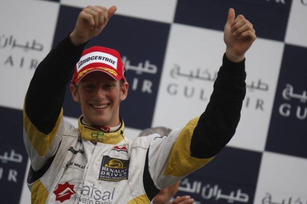 2008 GP2 Asia Series. Saturday Race.Bahrain International Circuit. Sakhir, Bahrain. 5th April. Romain Grosjean (FRA, ART Grand Prix) celebrates victory. World Copyright: Glenn Dunbar/GP2 Series Media Service. Service ref:__O9T0361 jpg