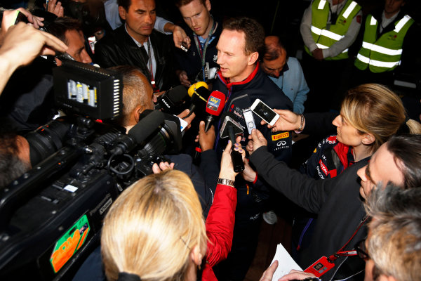 Albert Park, Melbourne, Australia. Sunday 16 March 2014. Christian Horner, Team Principal, Red Bull Racing, addresses the media regarding the disqualification of the car of Daniel Ricciardo, Red Bull Racing. World Copyright: Charles Coates/LAT Photographic. ref: Digital Image _J5R6625