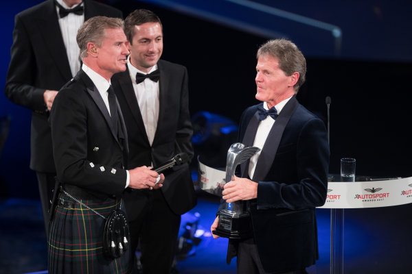 2017 Autosport Awards Grosvenor House Hotel, Park Lane, London. Sunday 3 December 2017. Malcolm Wilson accepts the Rally Car of the Year Award for the Ford Fiesta RS WRC. World Copyright: Joe Portlock/LAT Images  ref: Digital Image _R3I6080
