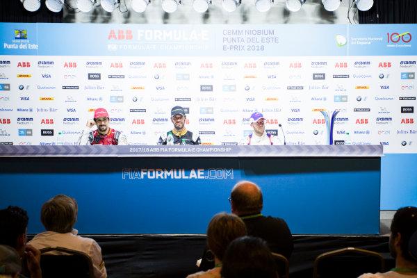 Jean-Eric Vergne (FRA), TECHEETAH, Renault Z.E. 17, in the post-race press conference with Lucas Di Grassi (BRA), Audi Sport ABT Schaeffler, Audi e-tron FE04, and Sam Bird (GBR), DS Virgin Racing, DS Virgin DSV-03.