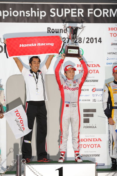 2014 Super Formula Series Sugo, Japan. 27th - 28th September 2014. Rd 6. Winner Tomoki Nojiri ( #40 PDOCOMO DANDELION SF14 ) podium, portrait. World Copyright: Yasushi Ishihara / LAT Photographic. Ref:  2014SF_Rd6_004.JPG
