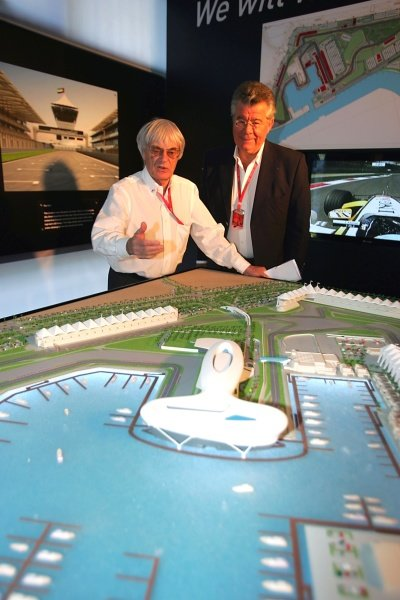 Philippe Gurdjian (FRA) and Bernie Ecclestone (GBR) F1 Supremo with a model of the Yas Marina Circuit in Abu Dhabi on display at the Chinese Grand Prix. Formula One World Championship, Rd17, Chinese Grand Prix, Practice Day, Shanghai International Circuit, Shanghai, China, Friday 17 October 2008.
