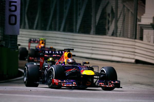 Marina Bay Circuit, Singapore. Sunday 22nd September 2013.  Sebastian Vettel, Red Bull RB9 Renault.  World Copyright: Alastair Staley/LAT Photographic. ref: Digital Image _R6T2382