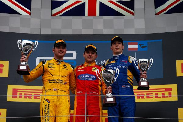 2016 GP2 Series Round 4 Red Bull Ring, Spielberg, Austria. Sunday 3 July 2016. Jordan King (GBR, Racing Engineering), Oliver Rowland (GBR, MP Motorsport) & Alex Lynn, (GBR, DAMS)  Photo: Sam Bloxham/GP2 Series Media Service. ref: Digital Image _SLA9962