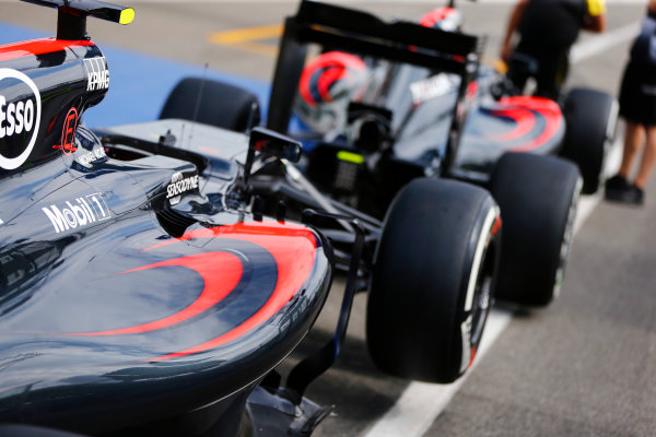 Hockenheim, Germany. Thursday 28 July 2016. A pair of McLaren MP4-31 Honda cars in the pit lane. World Copyright: Andy Hone/LAT Photographic ref: Digital Image _ONZ4796