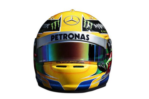 Albert Park, Melboune 14th March 2013 The helmet of Lewis Hamilton, Mercedes AMG. World Copyright: LAT Photographic ref: Digital Image DKAL8840