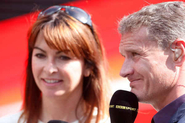 Nurburgring, Germany 6th July 2013 Suzy Perry, BBC Sport F1, with David Coulthard, BBC Sport F1 World Copyright: Charles Coates/  ref: Digital Image _N7T1115