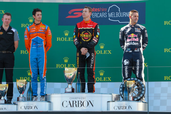 Nick Percat, Brad Jones Racing Holden, 2nd position, David Reynolds, Erebus Motorsport Holden, 1st position, and Jamie Whincup, Triple Eight Race Engineering Holden, 3rd position, on the podium.