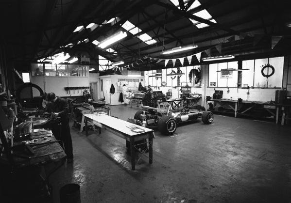 The Brabham factory near Woking in Surrey with the BT33 F1 car