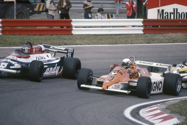 1981 Dutch Grand PrixZandvoort, Holland. 28-30 August 1981.Riccardo Patrese (Arrows A3-Ford Cosworth) and Brian Henton (Toleman TG181-Hart) during practice. Henton did not qualify. Ref - 81HOL16.World Copyright - LAT Photographic
