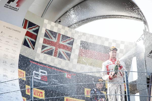 2014 GP3 Series. Round 7.   Autodromo di Monza, Monza, Italy. Sunday 7 September 2014. Alex Lynn (GBR, Carlin) and Dean Stoneman (GBR, Marussia Manor Racing). Photo: Zak Mauger/GP3 Series Media Service. ref: Digital Image IMG_9506