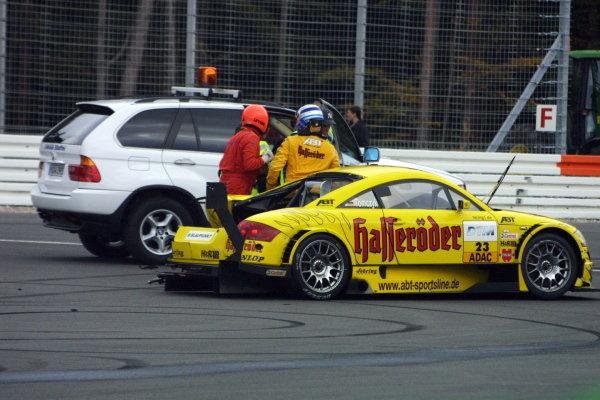 Marin Tomczyk (GER), Team Abt Sportsline Junior Audi TT, had a big backwards collision with Bernd Maylander (GER), Oase AMG-Mercedes.DTM Championship, Rd10, Hockenheim, Germany. 06 October 2002.DIGITAL IMAGE