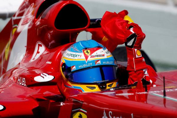 Circuit de Catalunya, Barcelona, Spain 12th May 2013. Fernando Alonso, Ferrari F138, 1st position, on his way to Parc Ferme. World Copyright: Glenn Dunbar/LAT Photographic ref: Digital Image _89P6387