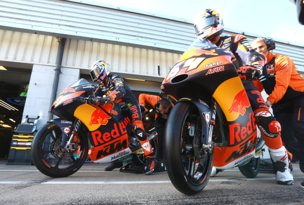 2017 Moto3 Championship - Round 12 Silverstone, Northamptonshire, UK. Friday 25 August 2017 Antonelli and Bo Bendsneyder, Red Bull KTM Ajo World Copyright: Gold and Goose / LAT Images ref: Digital Image 688456