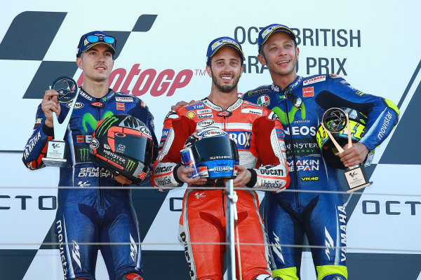 2017 MotoGP Championship - Round 12 Silverstone, Northamptonshire, UK. Sunday 27 August 2017 Podium: race winner Andrea Dovizioso, Ducati Team, second place Maverick Viñales, Yamaha Factory Racing, third place Valentino Rossi, Yamaha Factory Racing World Copyright: Gold and Goose / LAT Images ref: Digital Image 1061