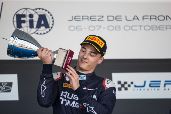 2017 FIA Formula 2 Round 10. Circuito de Jerez, Jerez, Spain. Sunday 8 October 2017. Artem Markelov (RUS, RUSSIAN TIME) on the podium. Photo: Andrew Ferraro/FIA Formula 2. ref: Digital Image _FER3701