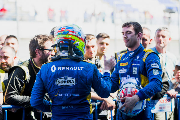 2017 FIA Formula 2 Round 10. Circuito de Jerez, Jerez, Spain. Sunday 8 October 2017. Oliver Rowland (GBR, DAMS), Nicholas Latifi (CAN, DAMS).  Photo: Zak Mauger/FIA Formula 2. ref: Digital Image _X0W2863