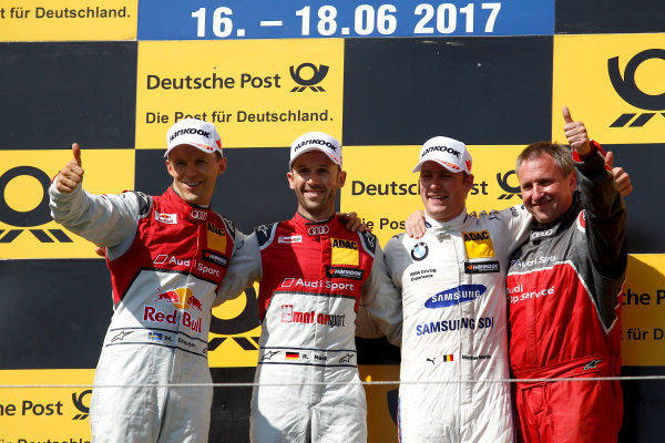 2017 DTM Round 3 Hungaroring, Budapest, Hungary. Sunday 18 June 2017. Podium: Race winner René Rast, Audi Sport Team Rosberg, Audi RS 5 DTM, second place Mattias Ekström, Audi Sport Team Abt Sportsline, Audi A5 DTM, third place Maxime Martin, BMW Team RBM, BMW M4 DTM World Copyright: Alexander Trienitz/LAT Images ref: Digital Image 2017-DTM-R3-HUN-AT1-2788
