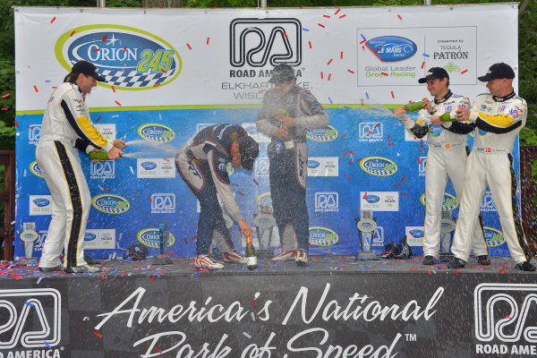 9-11 August, 2013, Elkhart Lake, Wisconsin USA #91 SRT Motorsports Viper wins first ALMS race in GT class with Marc Goossens and Dominik Farnbarher gtting a champagne shower from Corvette drivers ©Dan R. Boyd LAT Photo USA