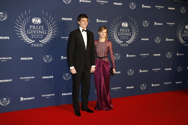 2013 FIA Gala Dinner and Awards. Paris, France. Friday 6th December 2013. Toto and Susie Wolff on the red carpet. World Copyright & Mandatory Credit: FIA. ref: Digital Image 11241870324_d99607336b_o