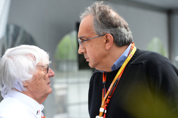 Bernie Ecclestone (GBR) CEO Formula One Group (FOM) and Sergio Marchionne (ITA) CEO FIAT at Formula One World Championship, Rd7, Canadian Grand Prix, Race, Montreal, Canada, Sunday 7 June 2015.