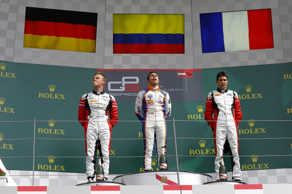 (L to R): Marvin Kirchhofer (GER) ART Grand Prix, Oscar Tunjo (COL) Trident and Esteban Ocon (FRA) ART Grand Prix celebrate on the podium at GP3 Series, Rd2, Spielberg, Austria, 19-21 June 2015.