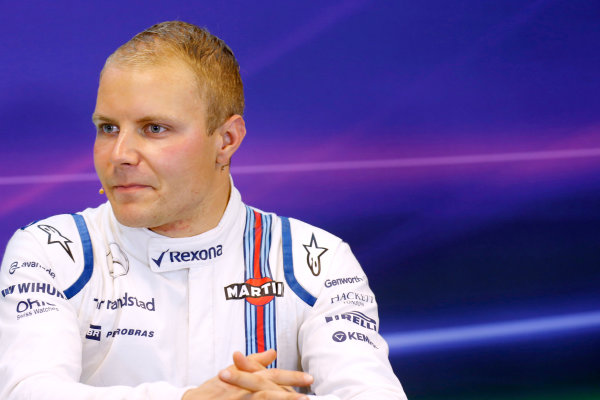 Spa-Francorchamps, Spa, Belgium. Saturday 22 August 2015. Valtteri Bottas, Williams F1, in the post Qualifying Press Conference. World Copyright: Alastair Staley/LAT Photographic ref: Digital Image _R6T5563