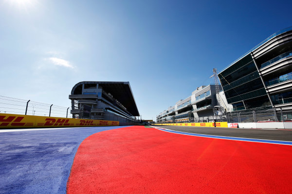 Sochi Autodrom, Sochi, Russia. Thursday 8 October 2015. A view of the start finish straight. World Copyright: Steven Tee/LAT Photographic ref: Digital Image _L4R2591