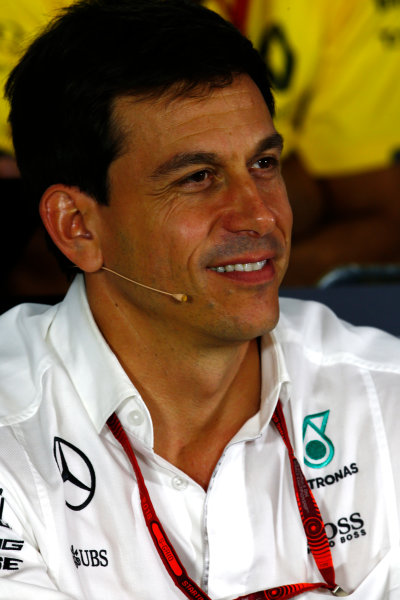 Marina Bay Circuit, Marina Bay, Singapore. Friday 16 September 2016. Toto Wolff, Executive Director (Business), Mercedes AMG, in the Team Principals Press Conference. World Copyright: Andy Hone/LAT Photographic ref: Digital Image _ONY7339