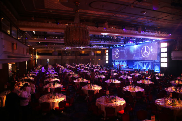 2016 Autosport Awards. Grosvenor House Hotel, Park Lane, London. Sunday 4 December 2016. Table and stage scene in the Great Room. World Copyright: /LAT Photographic. ref: Digital Image JL3_1838
