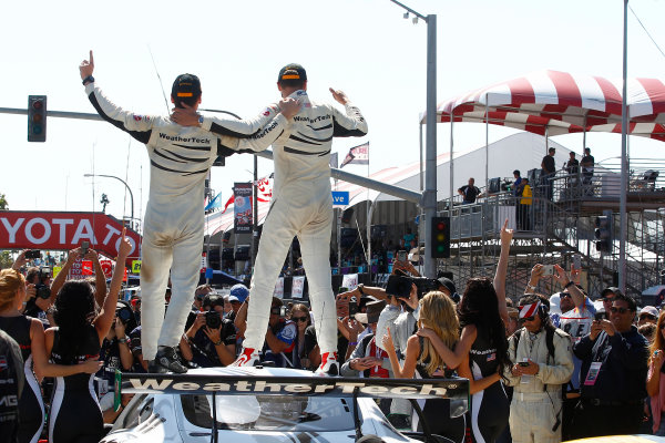 2017 IMSA WeatherTech SportsCar Championship BUBBA burger Sports Car Grand Prix at Long Beach Streets of Long Beach, CA USA Saturday 8 April 2017 50, Mercedes, Mercedes AMG GT3, GTD, Gunnar Jeannette, Cooper MacNeil celebrate their victory World Copyright: Phillip Abbott/LAT Images ref: Digital Image lat_abbott_lbgp_0417_8735