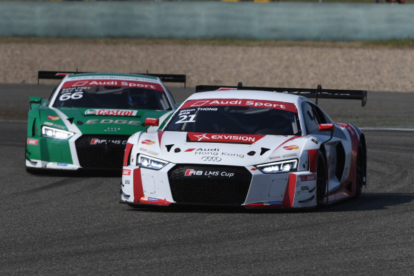 Thong Wei Fung (HK) Phoenix Racing Asia leads Rahel Frey (SWI) Castrol Racing Team at Audi R8 LMS Cup, Rd11 and Rd12, Shanghai International Circuit, Shanghai, China, 4-5 November 2016.