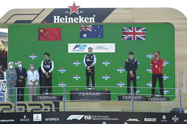 1st Oscar Piastri (AUS, Prema Racing) 2nd Guanyu Zhou (CHN, Uni-Virtuosi Racing) 3rd Dan Ticktum (GBR, Carlin)