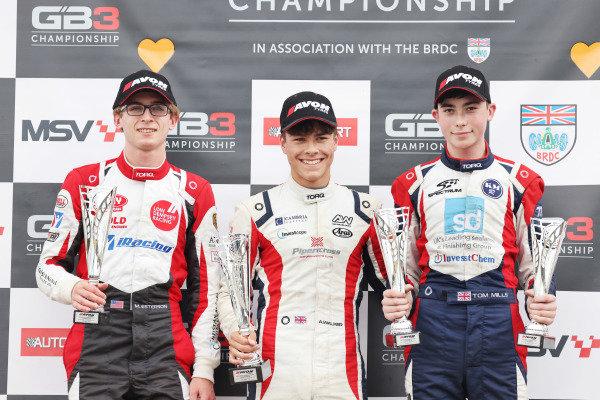 Podium Race 1 Maxwell Estersen - Ray GR18 Alex Walker Spectrum 011 Thomas Mills Spectrum KMR
