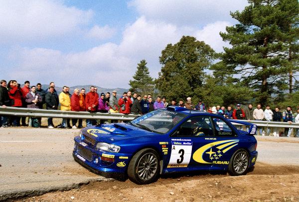 Richard Burns cuts a corner in his Subaru Impreza WRC2000 at the Pre event shakedown for the Catalunya Rally 2000.Photo: McKlein/LAT