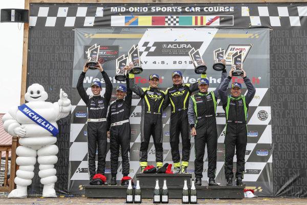 #35 Riley Motorsports Mercedes-AMG, GS: James Cox, Dylan Murry, #7 Park Place Motorsports Porsche Cayman GT4 MR, GS: Alan Brynjolfsson, Trent Hindman, #39 Carbahn Motorsports Audi R8, GS: Tyler McQuarrie, Jeff Westphal, podium