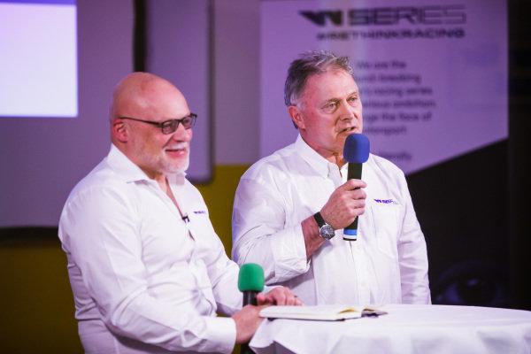 Dave Ryan, WSeries Racing Director talking to Matt Bishop, Communications Director