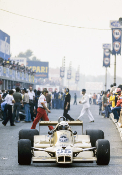 Riccardo Patrese, Arrows A1 Ford heads to pit exit.