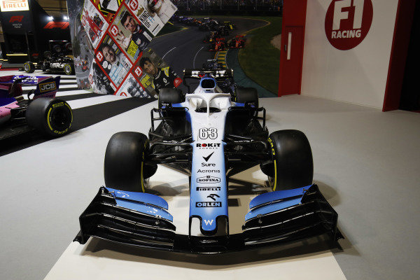 A Williams Racing FW42 on the F1 Racing stand