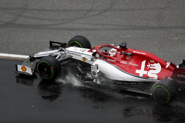 Kimi Raikkonen, Alfa Romeo Racing C38, rejoins after a trip into the gravel