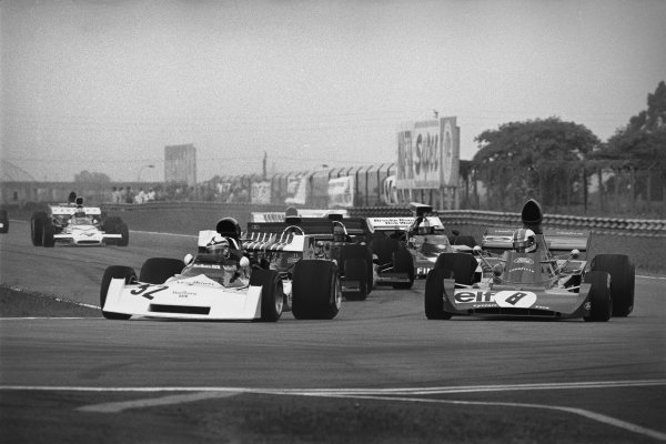 Silverstone, England. 14th July 1973.Clay Regazzoni (BRM P160E), 7th position leads Francois Cevert (Tyrrell 006-Ford Cosworth), 5th position, action.World Copyright: LAT Photographicref: 5031 - 6