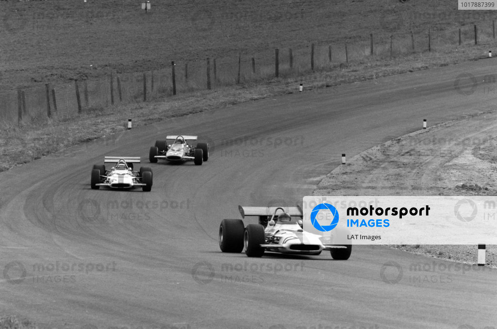 Pedro Rodriguez, BRM P153 leads Jackie Oliver, BRM P153 and Peter Gethin, McLaren M14A Ford.