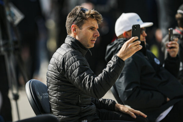 #12: Will Power, Team Penske Chevrolet at the driver's meeting