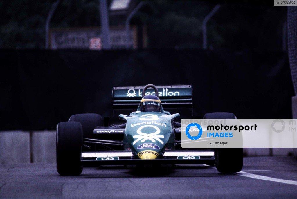 1983 United States Grand Prix East.Detroit, Michigan, USA.3-5 June 1983.Michele Alboreto (Tyrrell 011 Ford) 1st position.World Copyright - LAT Photographic