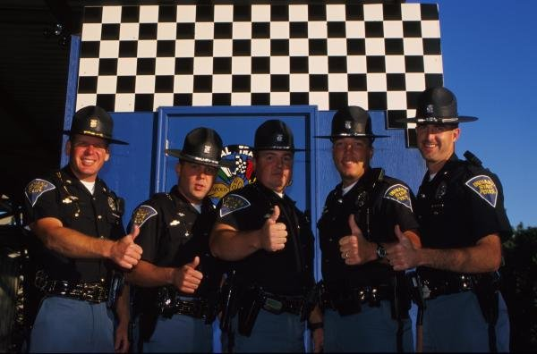 Indiana State Police Troopers were on hand to ensure everyone's safety. USA Grand Prix, Indianapolis 30 September 2001 BEST IMAGE