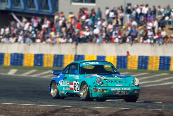 Le Mans, France. 19th - 20th June 1993.Franz Konrad/Jun Harada/Antonio Hermann (Porsche Carrera 2 Cup), 19th position, action. World Copyright: LAT Photographic.Ref:  93LM13.