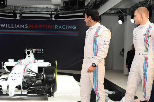 (L to R): Felipe Massa (BRA) Williams and Valtteri Bottas (FIN) Williams with the Williams Martini Racing liviried Williams FW36. Williams Martini Racing 2014 Team Launch, London, England, Thursday 6 March 2014.