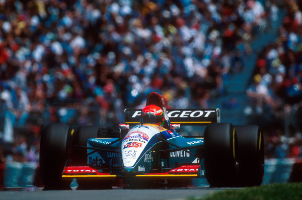Montreal, Quebec, Canada.9-11 June 1995.Eddie Irvine (Jordan 195 Peugeot) 3rd position. This was his first podium.Ref-95 CAN 18.World Copyright - LAT Photographic