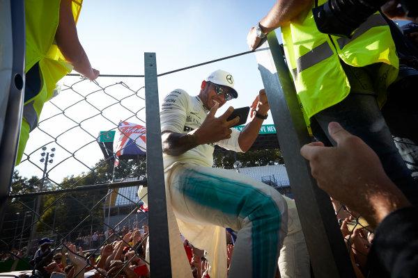 Autodromo Nazionale di Monza, Italy. Sunday 3 September 2017. Lewis Hamilton, Mercedes AMG, takes a photo with fans. World Copyright: Steve Etherington/LAT Images  ref: Digital Image SNE15625